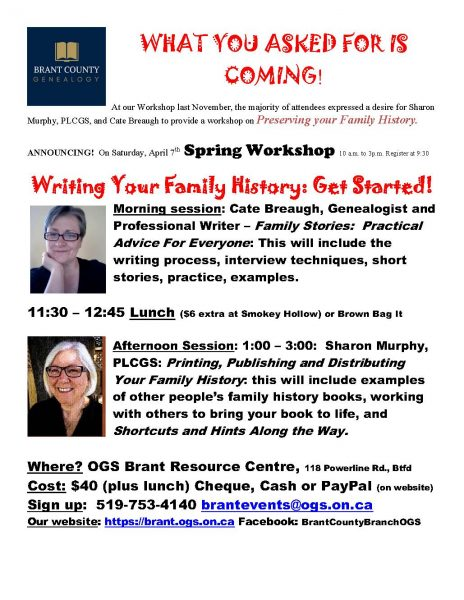 Spring Workshop with Cate Breaugh and Sharon Murphy @ Brantford   Ontario   Canada